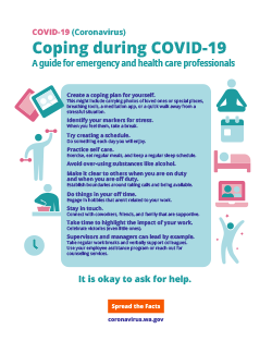 An infographic for Coping for Health Care Professionals