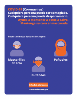 an infographic that shows different ways to cover your face in Spanish